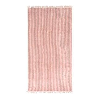 Premium Towel - Lauren's Pink Stripe with Fringe For Sale