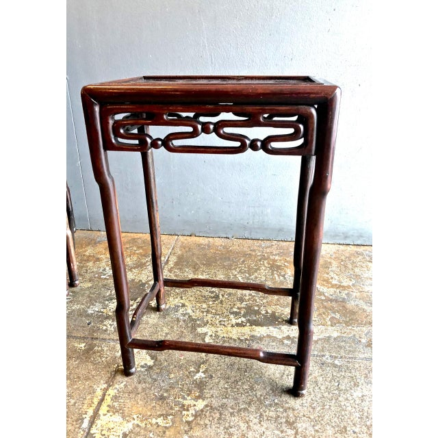 Burnt Umber Chinese Rosewood Nesting or Quartetto Tables - Set of 4 For Sale - Image 8 of 10