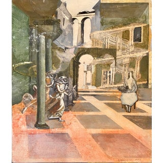 1986 Surrealist Architectural Mixed-Media Collage Signed Frassinelli For Sale