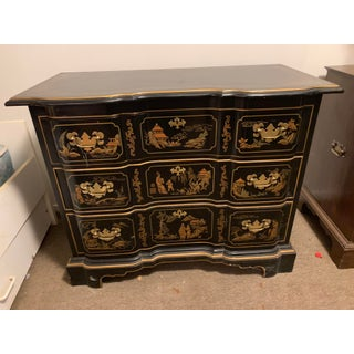 Vintage Drexel Hand Painted Black Chinoiserie Three Drawer Dresser Preview