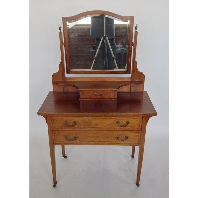 English Inlaid Vanity & Beveled Mirror - Image 6 of 6