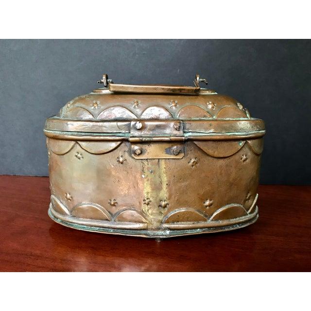 Boho Chic Vintage Turkish Copper Bath Lidded Soap Box For Sale - Image 3 of 8