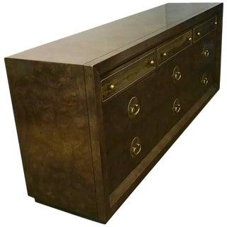 Mid-Century Modern Bernhard Rohne for Mastercraft Sideboard / Dresser of Burl Wood & Brass