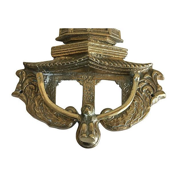 Brass Oversize Pagoda & Monkey Door Knocker For Sale - Image 8 of 9