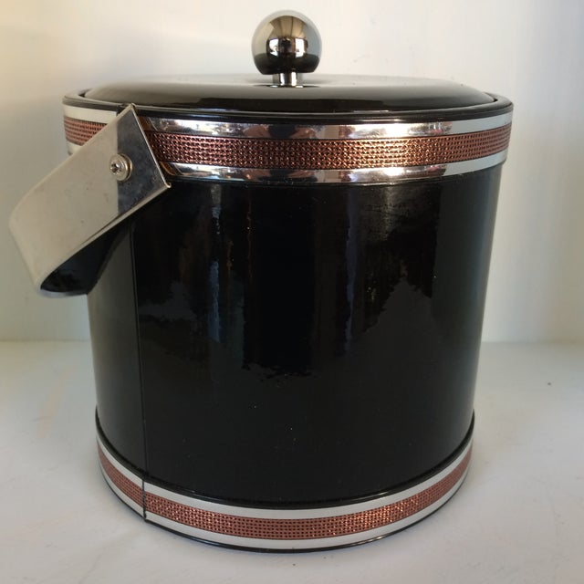 Mid-Century Modern Georges Briard Black Vinyl & Chrome With Copper Tone Bands Ice Bucket and Tongs For Sale - Image 3 of 13
