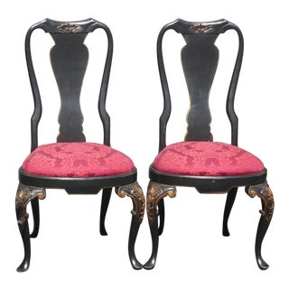 1950s Vintage Queen Anne Style Accent Chairs - A Pair