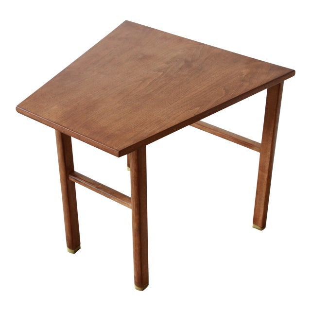 Edward Wormley for Dunbar Walnut Cantilever Wedge End Table, 1950s For Sale