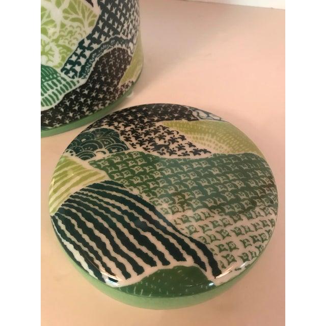 Madcap Cottage Green/Blue Porcelain Lidded Jar For Sale In Greensboro - Image 6 of 7