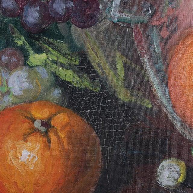 Vintage Spanish Oil on Canvas Still Life of Fruit & Wine by v. Lazaro For Sale - Image 6 of 10