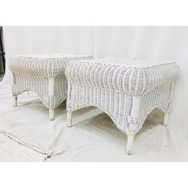Early 20th Century Pair Vintage Woven Wicker Ottomans For Sale - Image 5 of 10