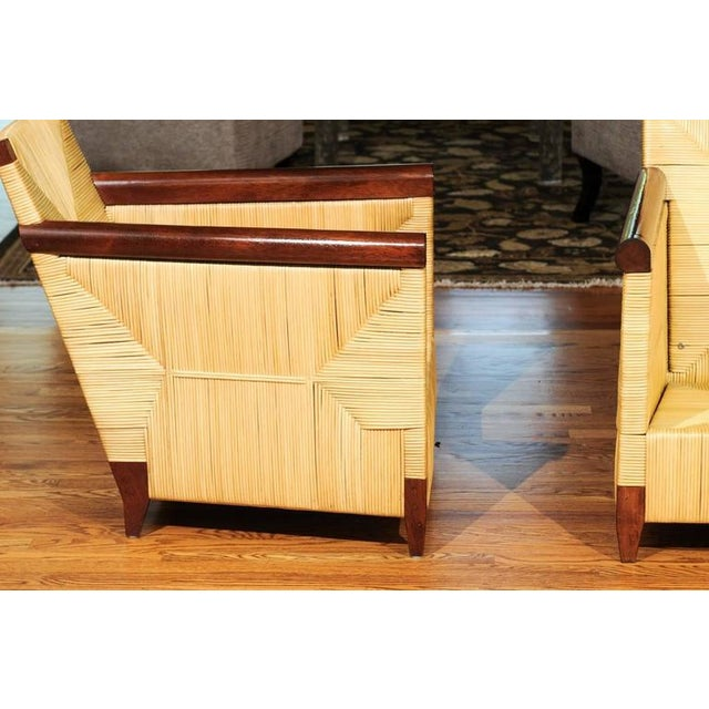 Superb Pair of Mahogany and Wicker Loungers by John Hutton for Donghia For Sale - Image 9 of 11