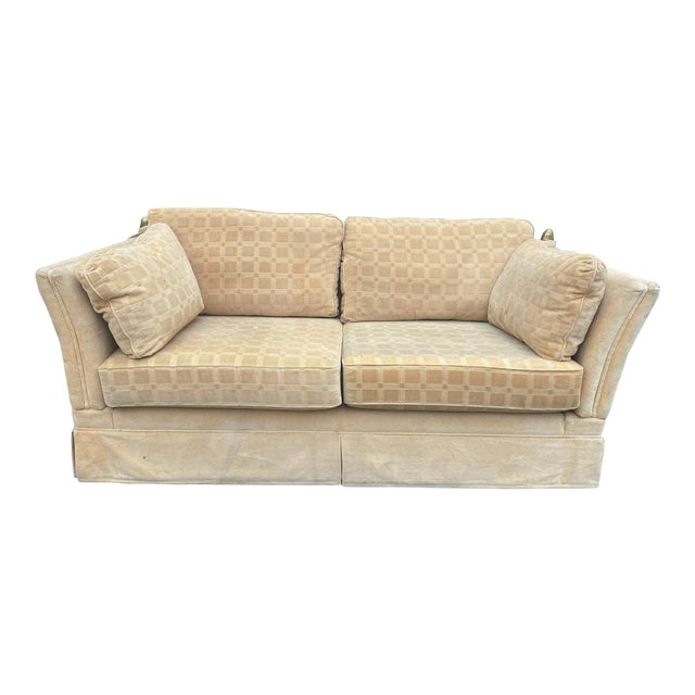 Vintage French Ivory Velvet Canapé Sofa With Adjustable Arms and Brass Finials For Sale