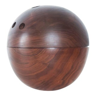 Modern Bowling Ball Secret Catch It All in Walnut Wood For Sale