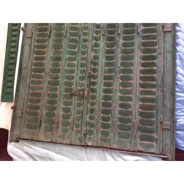 Antique Iron Tall Arched French Window Shutter For Sale In Tampa - Image 6 of 9