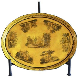 Late 19th Century Hand-Painted Yellow Tole Tray For Sale