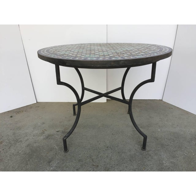 Moroccan Round Mosaic Tile Outdoor Table in Moorish Fez Design For Sale - Image 10 of 10