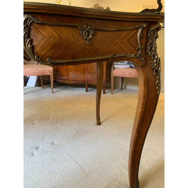 Louis XV Style Kingwood Veneer and Brass Mounted Writing Desk For Sale - Image 10 of 12