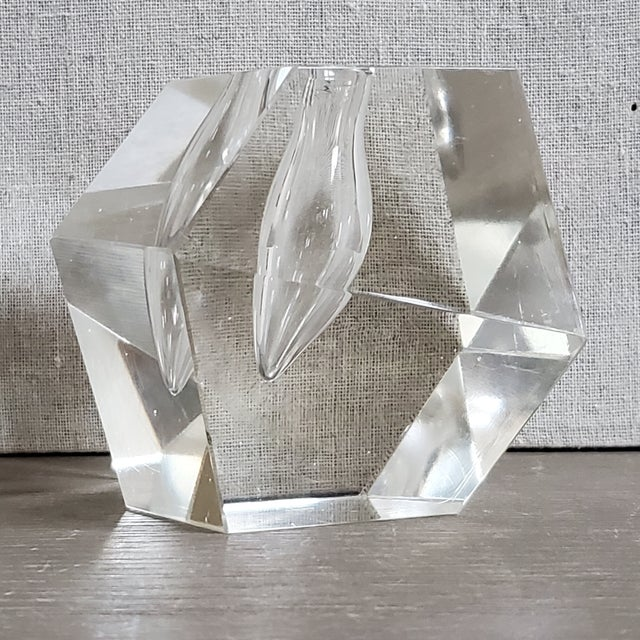 Transparent Geometric Crystal Pen Holder Paperweight For Sale - Image 8 of 8