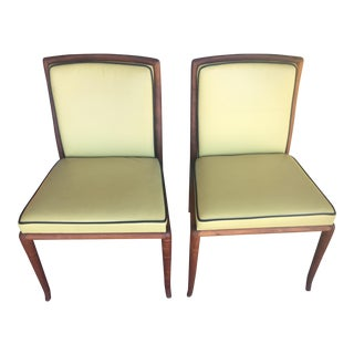 Vintage Leather & Teak Chairs - a Pair