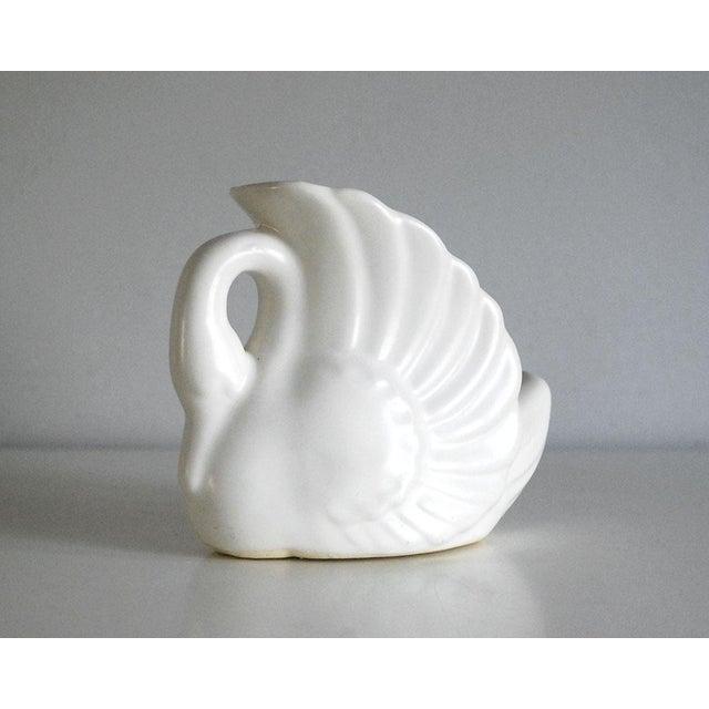 Ceramic 1950s Art Deco Matte Shawnee White Pottery Swan Planter For Sale - Image 7 of 7