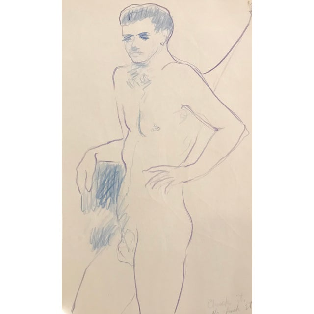 "Boho Chic ""Chuck It"" Standing Male Nude by James Bone, 1990s For Sale - Image 3 of 3"