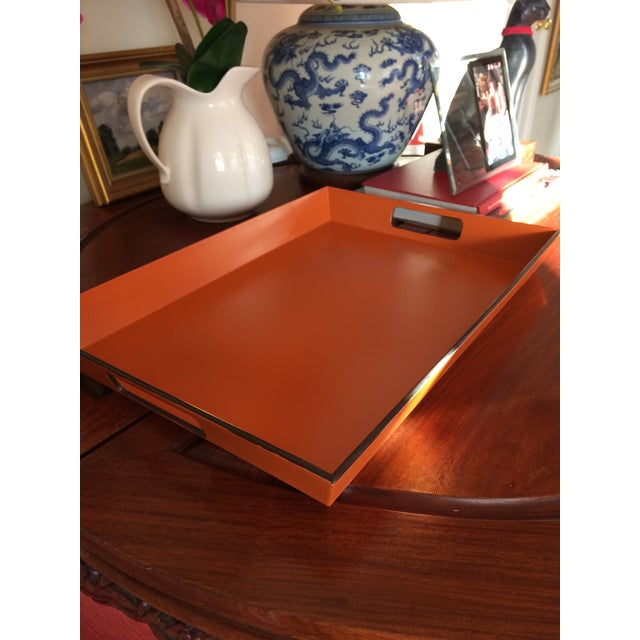 Mid Century Modern Orange and Espresso Bar Tray For Sale - Image 11 of 13