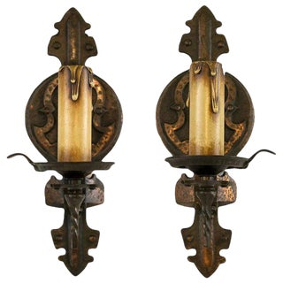 Pair 1920's American Spanish Revival Tudor Single Light Sconces For Sale