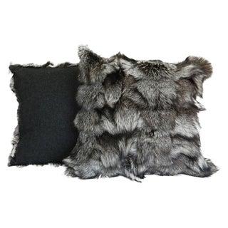 Gray Fox Fur Pillow
