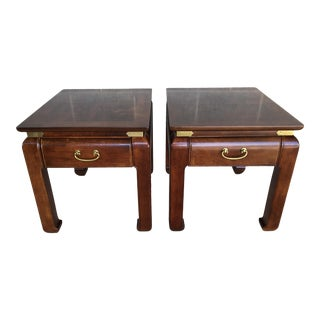 Bernhardt Asian Ming Style Burl Walnut End Tables - a Pair For Sale