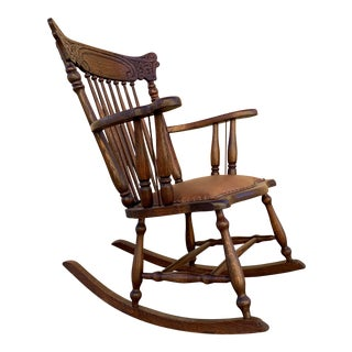 Early 1900s Press Back Rocking Chair With New Leather Seat For Sale