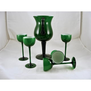Carlo Moretti Mid Century Green and White Cased Pedestal Pitcher and 5 Wine Glasses Preview