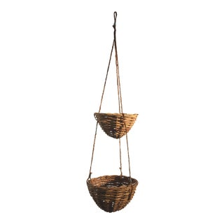 2 Tier Boho Hanging Rattan Basket