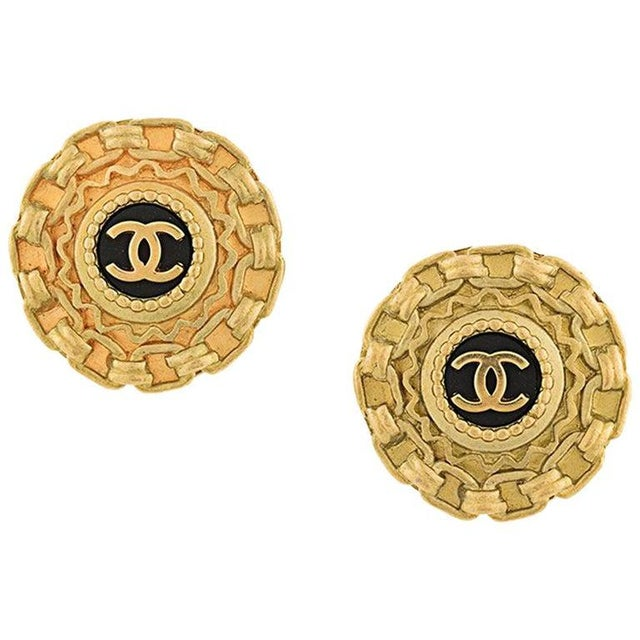 Late 20th Century Chanel Gold Textured Chain Link Charm Evening Stud Earrings For Sale - Image 5 of 5