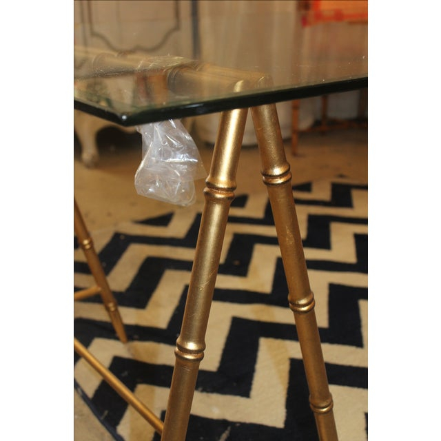Glass & Gold Iron Faux Bamboo Dining Table - Image 3 of 5