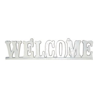 "Vintage Cast Iron ""Welcome"" Hanging Sign For Sale"