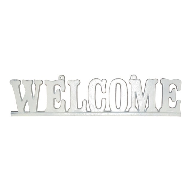 """Vintage Cast Iron """"Welcome"""" Hanging Sign For Sale"""