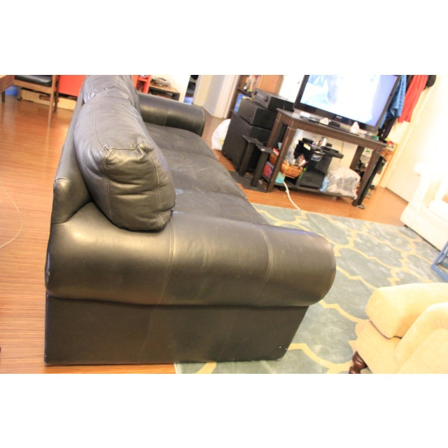 Maurice Villency Down Filled Black Leather Sofa For Sale - Image 5 of 11