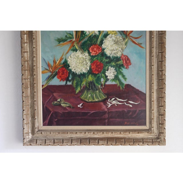 Canvas Still Life Flowers With Burgundy Cloth Painting by Ben Wilks For Sale - Image 7 of 13