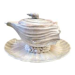 5 Piece XLarge Ceramic Pearlized Conch Shell Soup Tureen W/Platter and Stand Fitz and Floyd Style For Sale