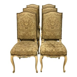 Vintage Italian Tapestry Dining Chairs - Set of 6