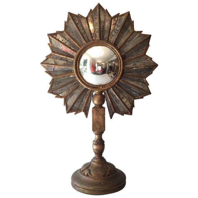 Antique Sunburst Convex Mirror Stand - Image 1 of 3