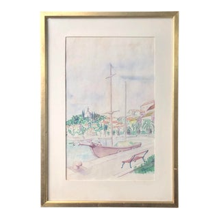 "1972 Signed ""Cantas Yugoslavia"" Harbor Boat Scene Watercolor Painting in Gilt Frame For Sale"
