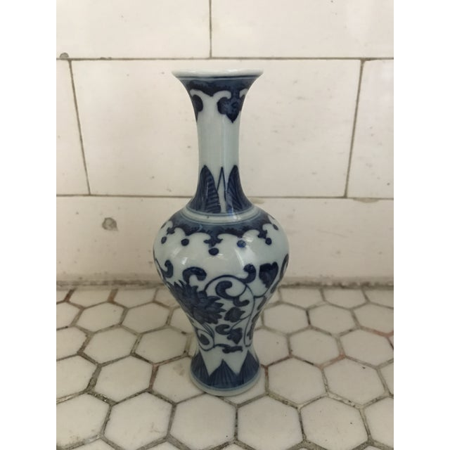 Asian Blue & White Porcelain Vases - Set of 3 For Sale - Image 3 of 9