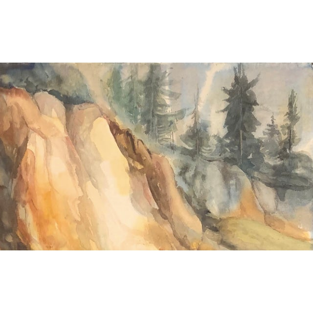 """Thelma Corbin Moody AbEx Mountain Side c. 1960's Watercolor on Arches Paper 29.5"""" x 22"""", Unframed Lovely, mid century..."""
