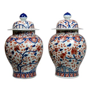 Late 19th Century Colossal Imari Japanese Baluster Temple Jars- a Pair For Sale