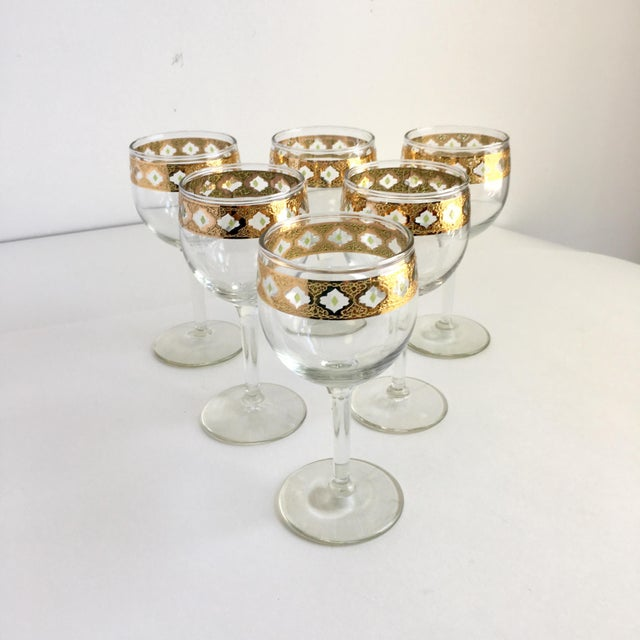 Culver Valencia Gold and Green Wine Glasses Vintage Barware - Set of 6 For Sale - Image 6 of 6