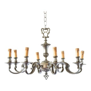 Colonial Style Pewter Chandelier For Sale