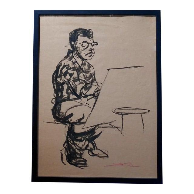 "Emil Kosa Jr ""Self-Portrait"" Original 1950s Ink on Paper Painting For Sale"