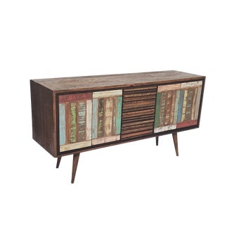 Mid-Century Modern 4-Door Buffet Sideboard 100% Solid Reclaimed Wood
