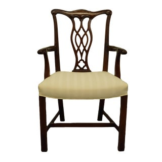 1960s Vintage Antique Solid Cherry Chippendale Style Dining Arm Chair For Sale